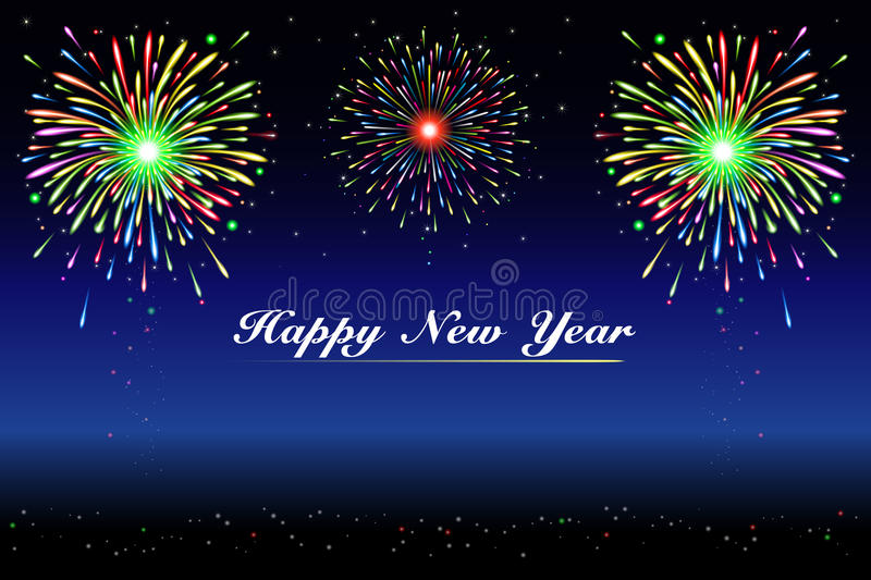 Happy new year fireworks vector illustration