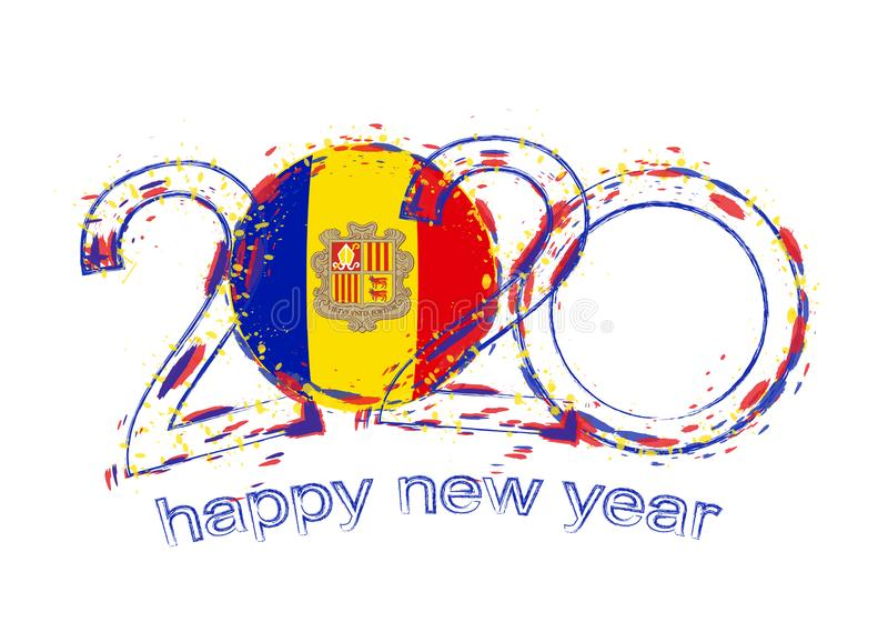 Happy New 2020 Year with flag of Andorra stock illustration