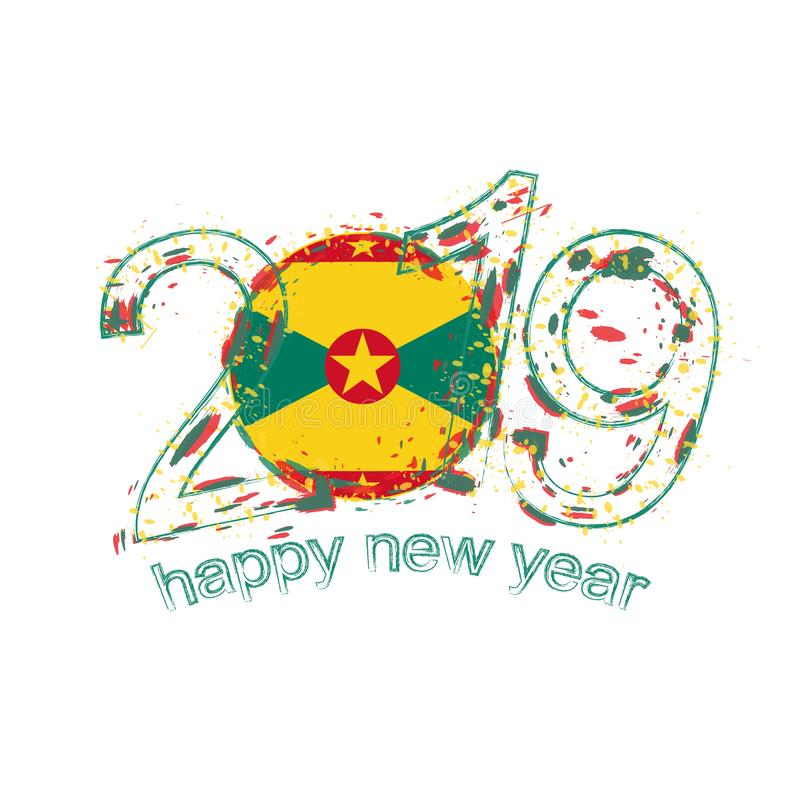 Happy New 2019 Year with flag of Grenada. Holiday grunge vector royalty free illustration