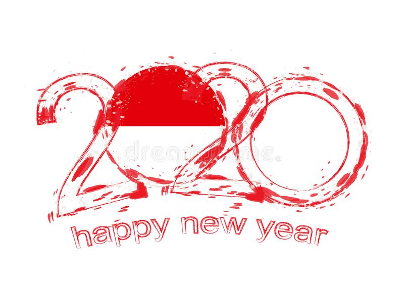 Happy New 2020 Year with flag of Monaco vector illustration