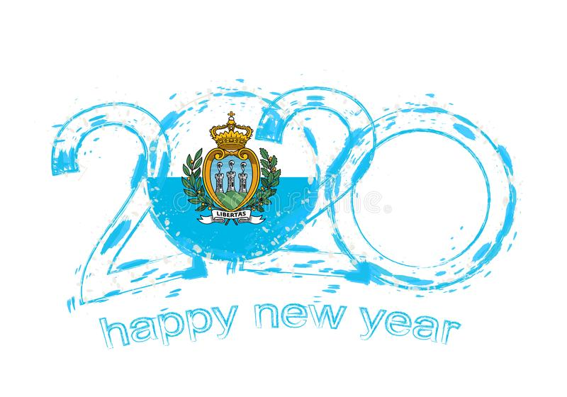 Happy New 2020 Year with flag of San Marino vector illustration