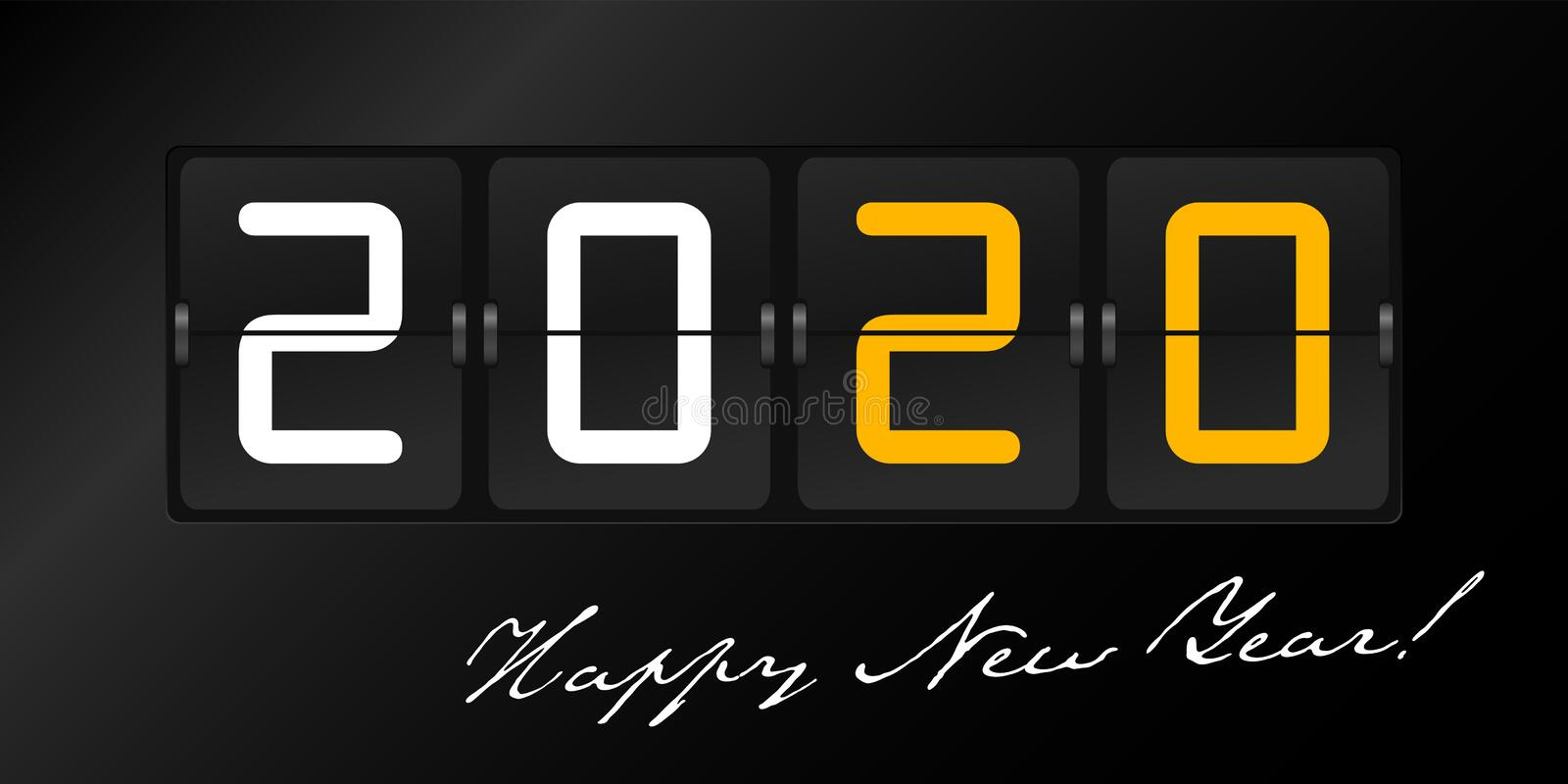 Happy New Year 2020 in flip panel style on black color background. Greeting Background stock photos