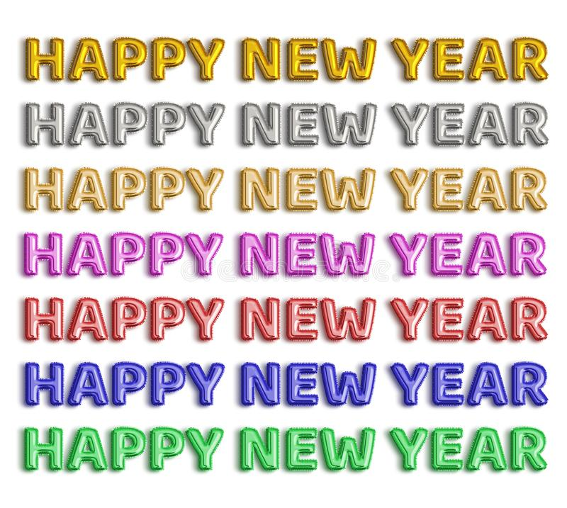 Happy New Year foil balloon word on white background. For decoration and holiday concept royalty free stock images