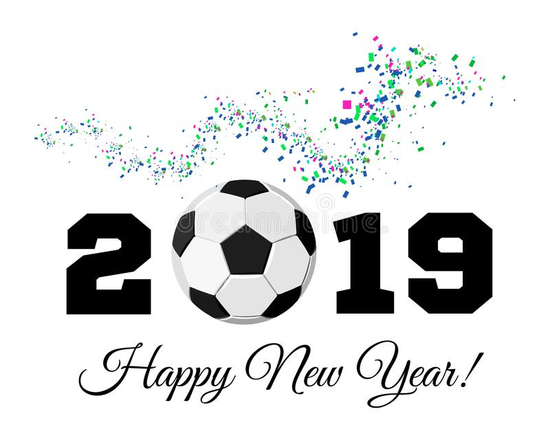 Happy New Year 2019 with football ball and confetti on the background. Soccer ball vector illustration on white stock illustration
