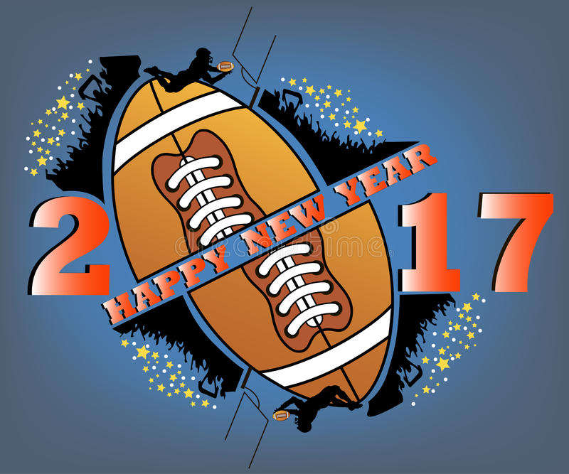 Happy new year and football. Happy new year 2017 and football with football fans. football player jumping with the ball. Vector illustration royalty free illustration