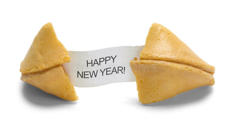 Happy New Year Fortune Cookie. Fortune Cookie with Happy New Year Message Isolated on White Background royalty free stock images