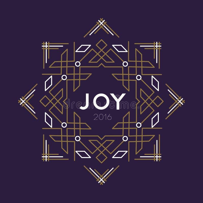 Happy new year 2016 frame art deco joy card line stock photo