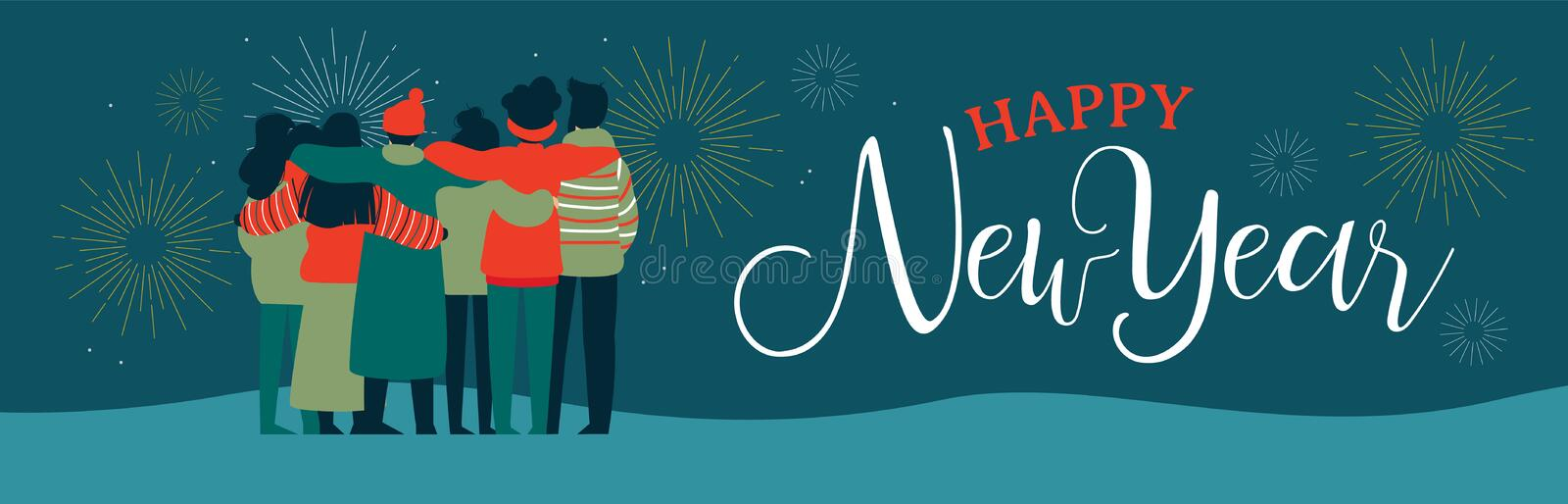 Happy New Year friend people group web banner royalty free illustration