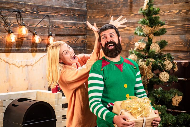 Happy new year friends. Positive human emotions facial expressions. Family christmas happy. Winter holidays and people. Concept. Funny New Year concept stock photography