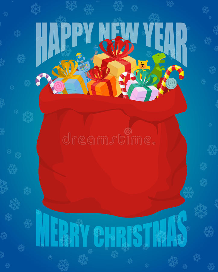 Free Happy New Year. Full Sack Of Gifts. Bag Of Santa Claus With Pres Royalty Free Stock Photo - 79296415