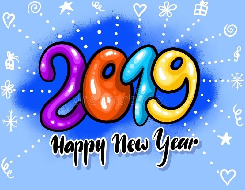 Hand drawn illustration. Happy New Year 2019 funny card design with cartoon numbers and doodle fireworks vector illustration