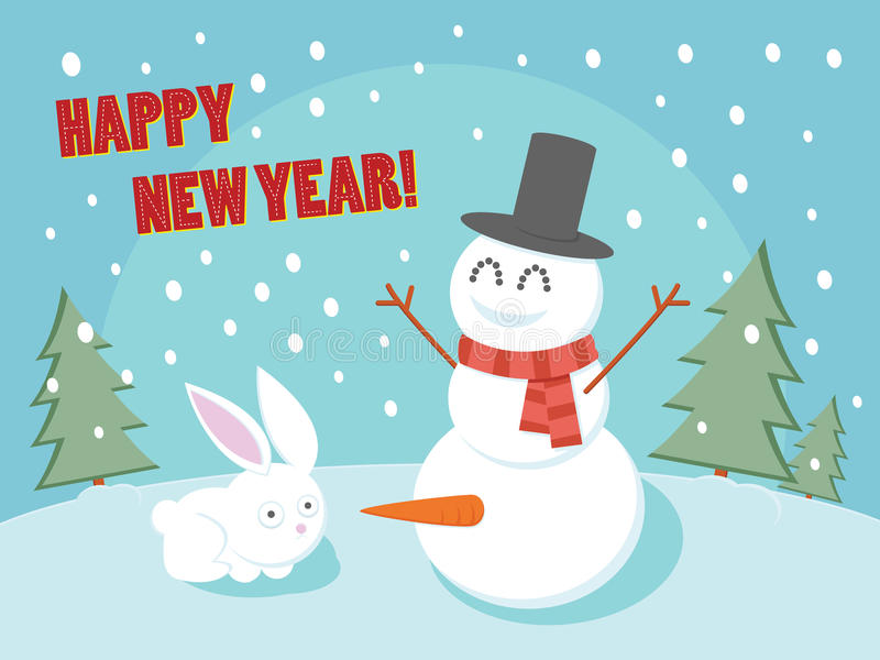Amazing Download Happy New Year Funny Greeting Card. Stock Illustration    Illustration Of Blue, Rabbit
