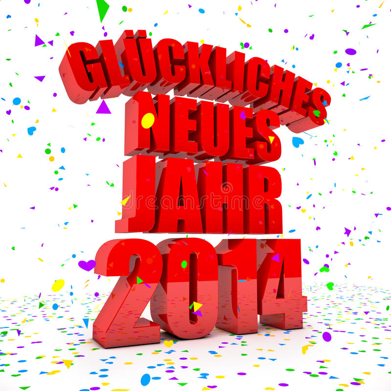 Happy New Year 2014 In German Languages Stock Illustration