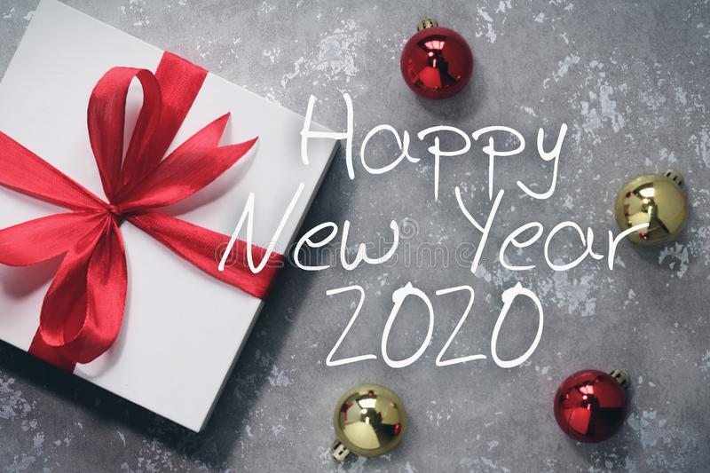 Happy new year 2020 with gift. New year is the first day of the year in the Gregorian calendar stock images