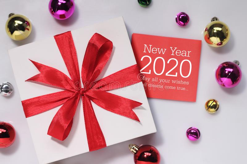 Happy new year 2020 with gift. New year is the first day of the year in the Gregorian calendar stock photo