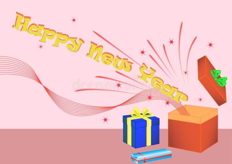 Happy New Year giftbox royalty free stock image