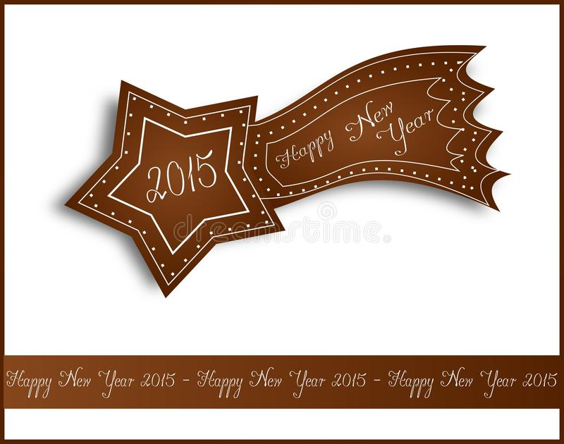 Happy New Year 2015 gingerbread comet stock illustration