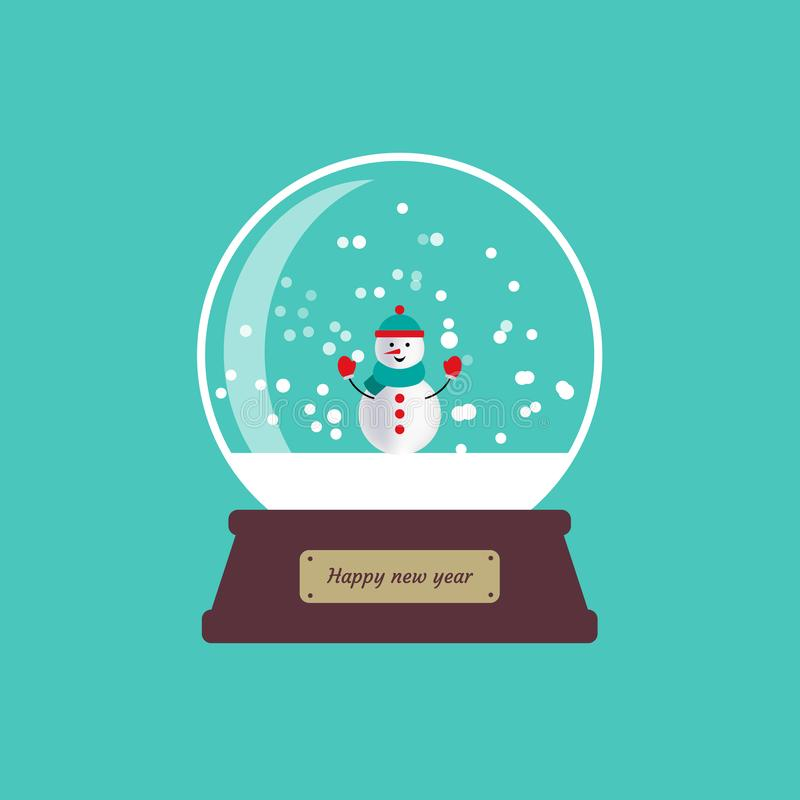 Happy new year glass ball, globe with snowman and snowflakes. Vector illustration on blue background. eps10 stock illustration