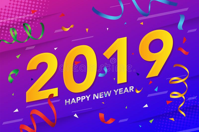 Happy New year 2019 with glitter and conffeti on colorful background.Vector illustration. vector illustration