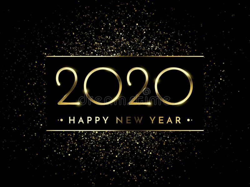Happy New Year of glitter gold fireworks. Vector golden glittering text and 2020 numbers with sparkle shine, holiday greeting vector illustration
