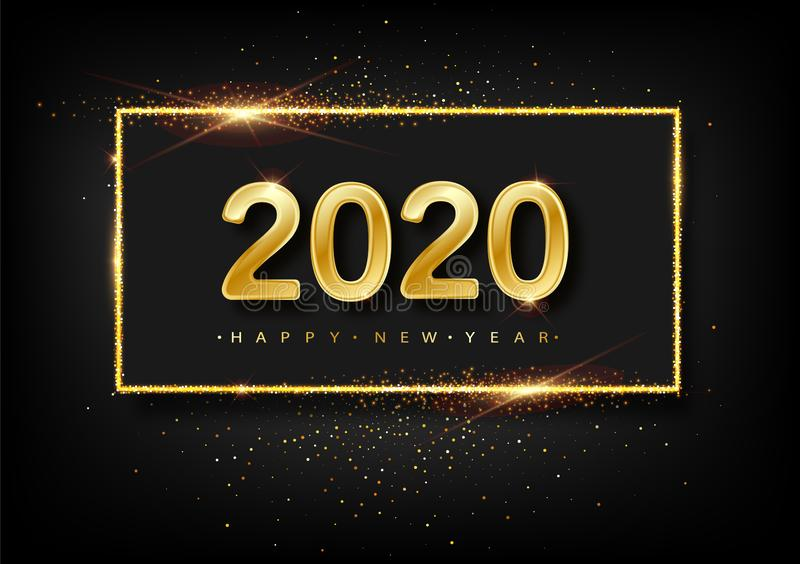 Happy New Year of glitter gold fireworks. Vector golden glittering text and 2020 numbers with sparkle shine for holiday royalty free illustration