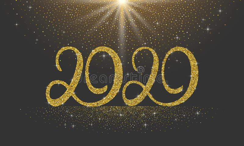 Happy New Year 2020 glitter lettering numbers with stars and sparkles on black background. Holiday greetings happy new vector illustration