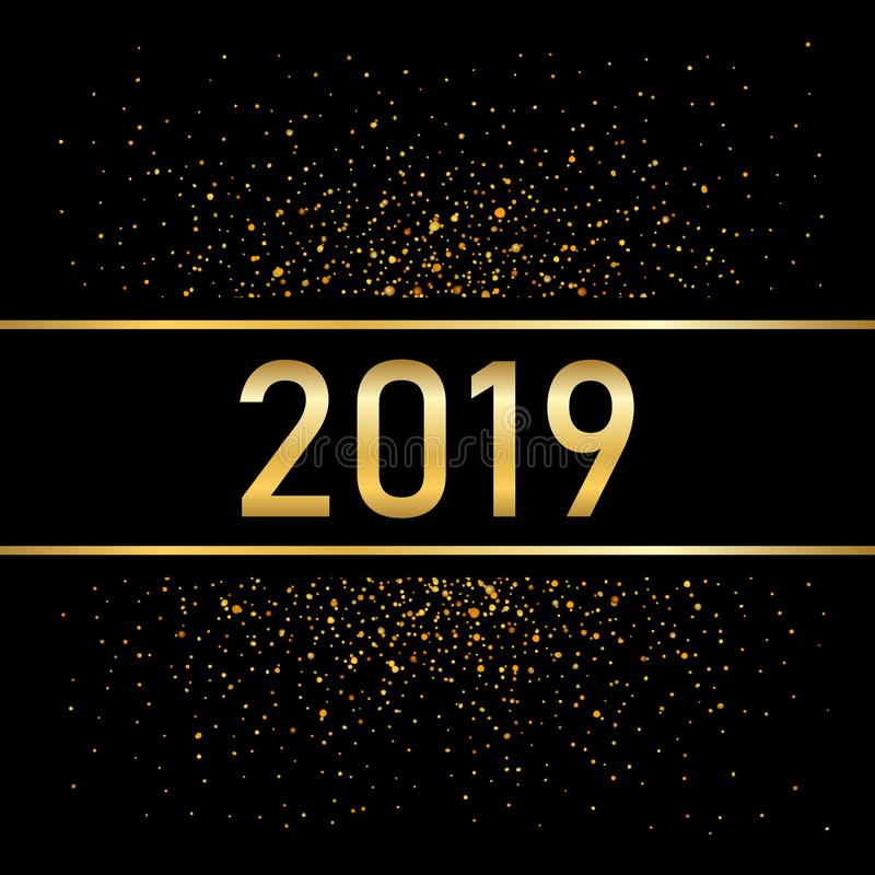 Happy New Year gold background. Golden number isolated on black. Glitter, light sparkle, shimmer, shine confetti. Design vector illustration
