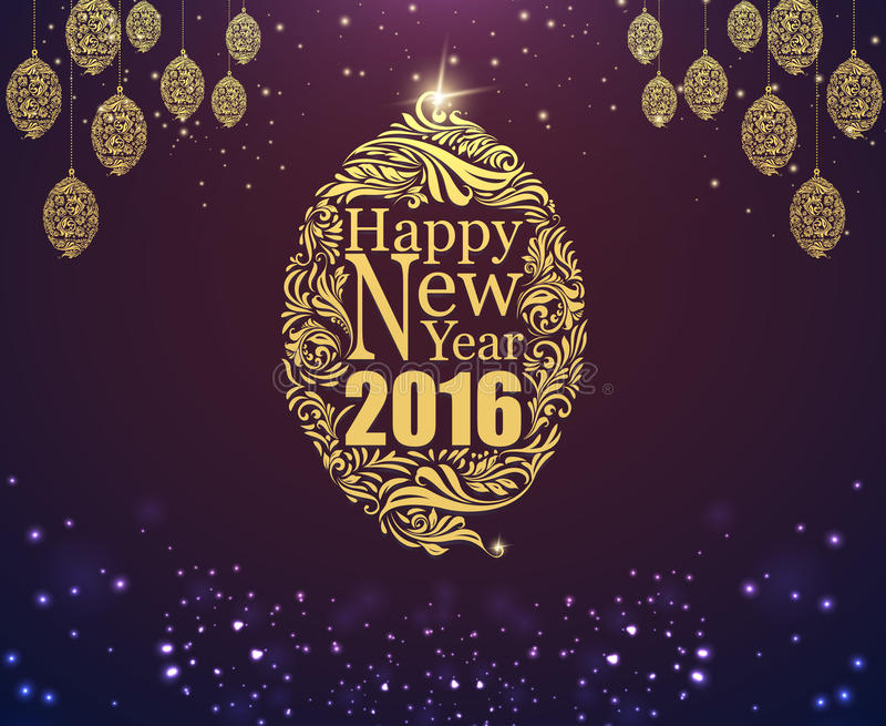 Happy new year and gold ball purple classic background. stock illustration
