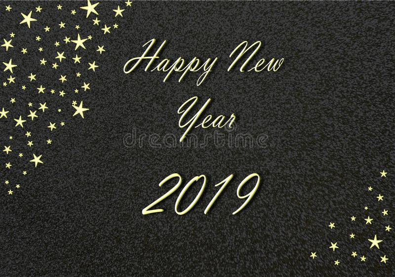 Happy New Year 2019 gold with black Background and Stars stock illustration