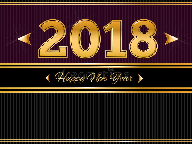 Happy New Year 2018 Gold and Black greeting card royalty free illustration