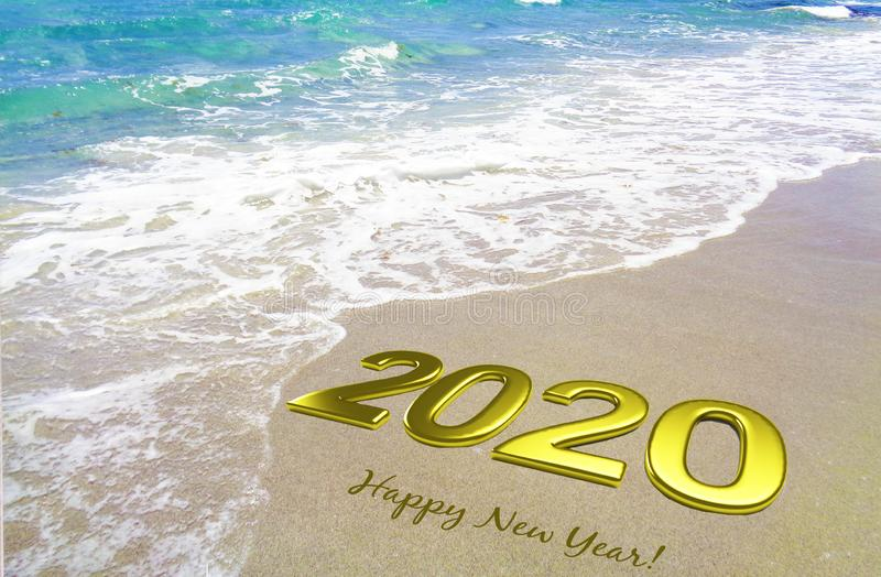 2020 happy new year gold 3D letters celebration invitation card with beautiful beach image background banner stock photography