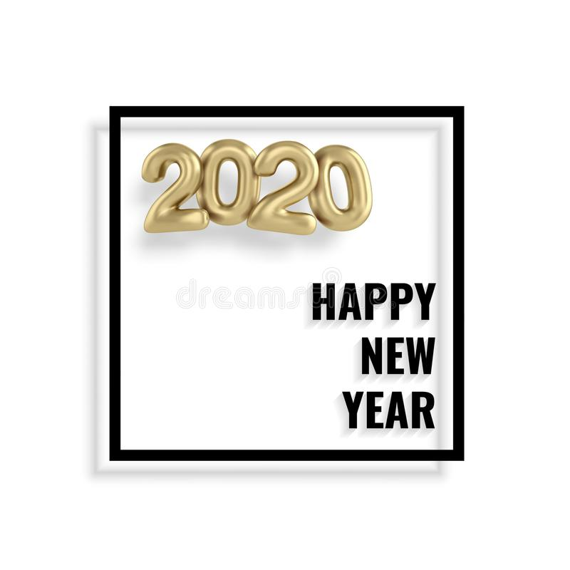 2020 Happy new year gold 3d sing numbers. 2020 Happy new year gold 3d sing. Numbers minimalist style balloon isolated. Vector realistic 2020 balloons in 3D style royalty free illustration