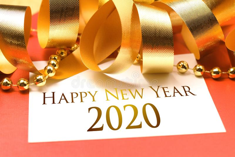 Happy new year 2020 with gold decoration stock images