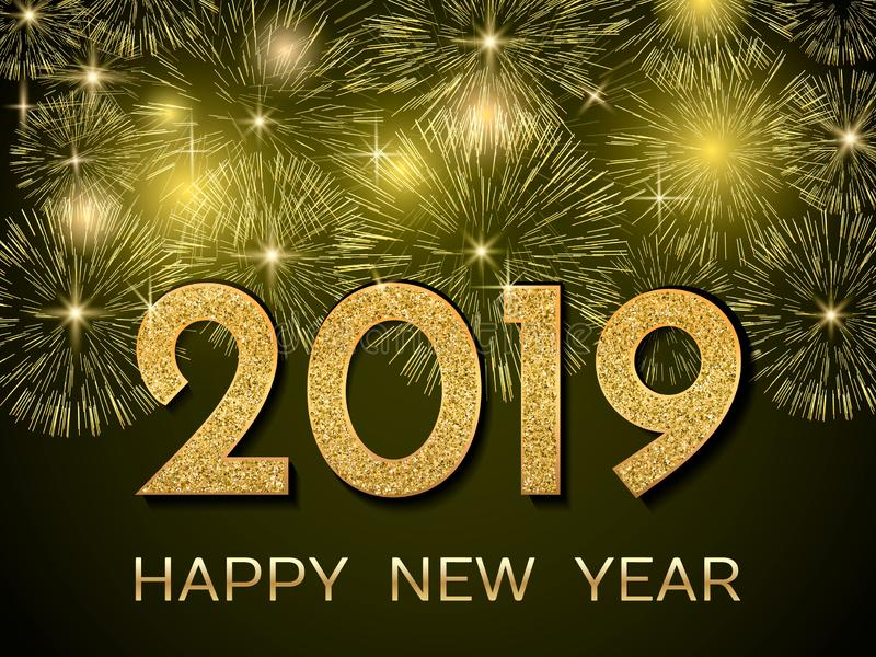 2019 Happy New Year. Gold fireworks on dark background. New Year stock illustration