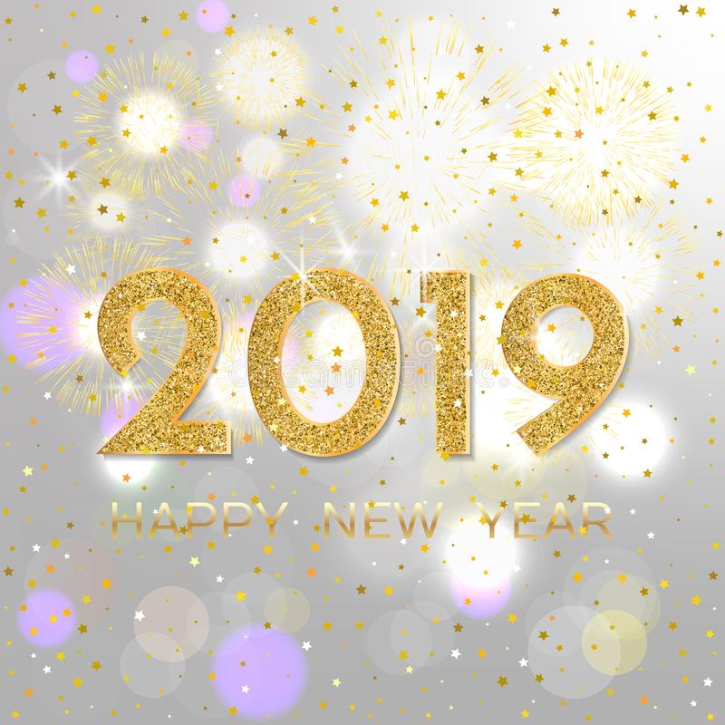 2019 Happy New Year. Gold fireworks on light background. New Yea vector illustration