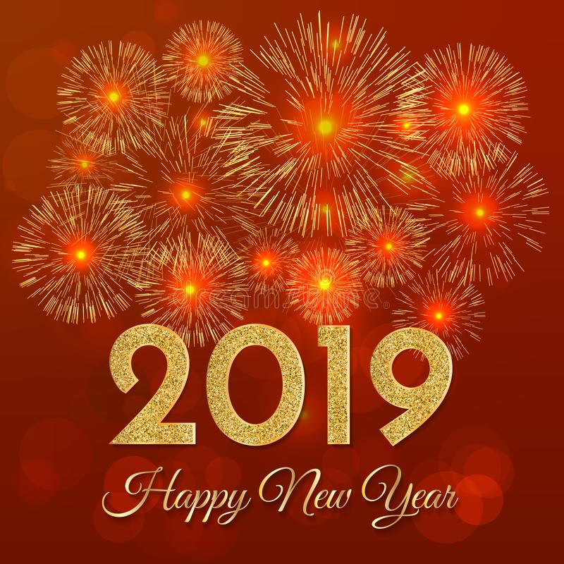 2019 Happy New Year. Gold fireworks on red background. New Year vector illustration