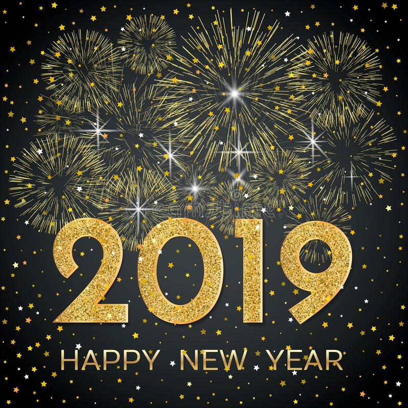 2019 Happy New Year. Gold fireworks and stars on dark background vector illustration