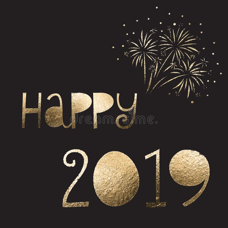 Happy 2019 New Year gold foil vector illustration with firework on black. Holiday vector art for poster, greeting card, magazine, vector illustration