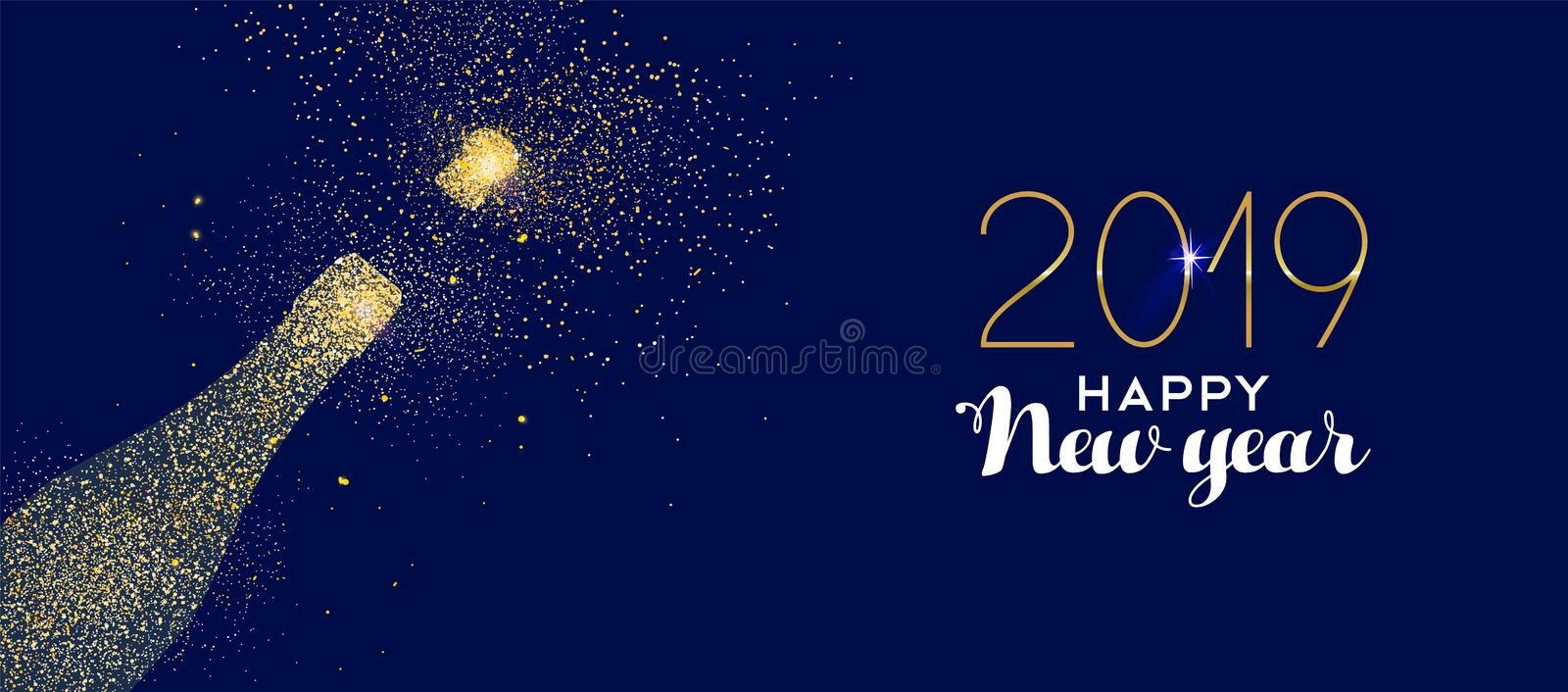 Happy New Year 2019 gold glitter champagne bottle. Happy new year 2019 gold champagne bottle celebration made of realistic golden glitter dust. Ideal for holiday royalty free illustration