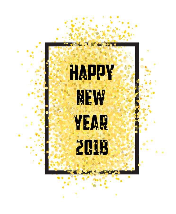 Happy new year. Gold glitter 2018. Golden on white background stock photography