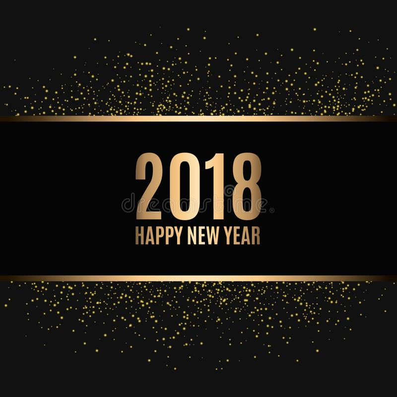 Happy new year 2018. Gold glitter New Year. Gold background for flyer, banner, web, header, poster, sign. royalty free illustration
