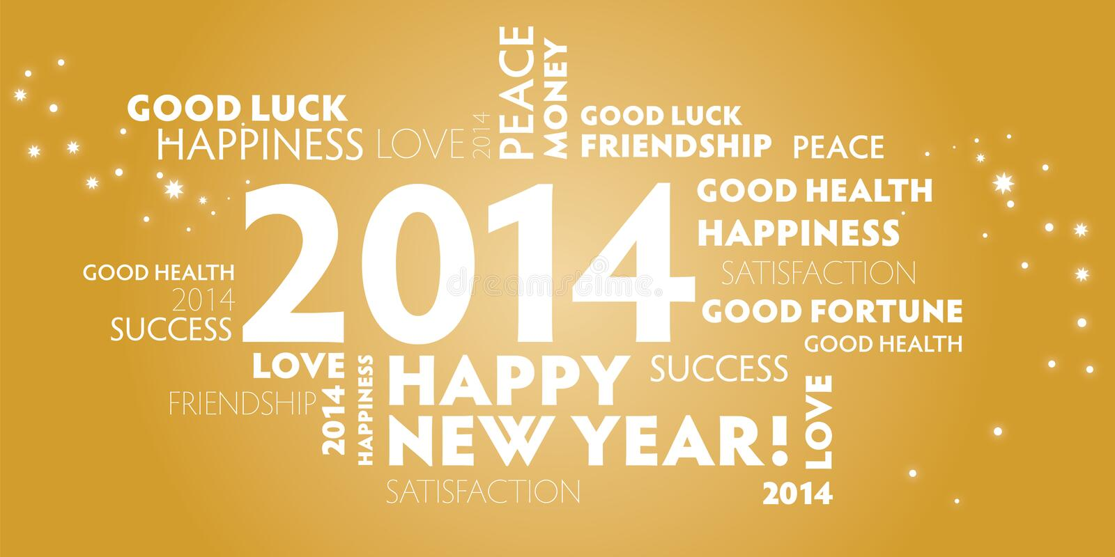 2014, happy new year, gold vector illustration