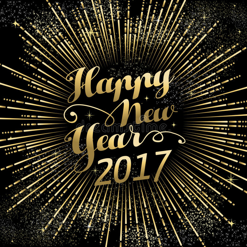 Happy New Year 2017 gold holiday background royalty free illustration