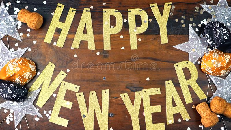 Happy New Year gold letters bunting royalty free stock photos