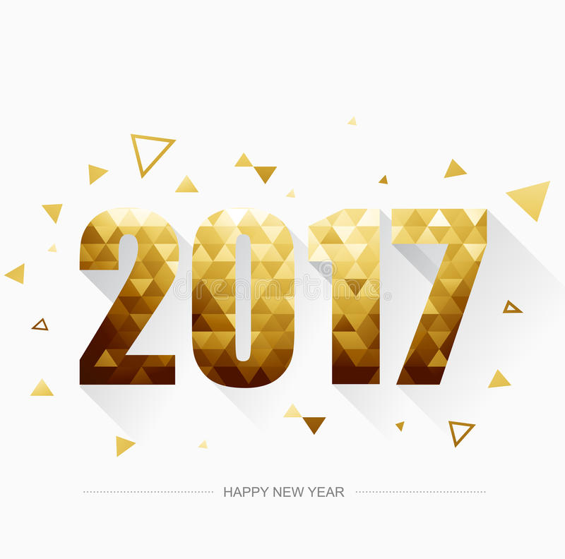 Happy new year 2017 Gold stock illustration