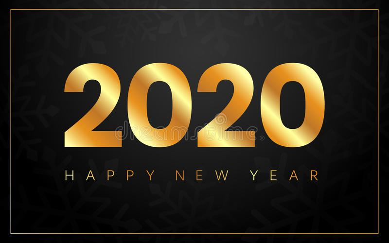 Happy New Year 2020. Gold luxury banner. Merry Christmas card with golden frame and snow flakes. Bright text on black royalty free illustration