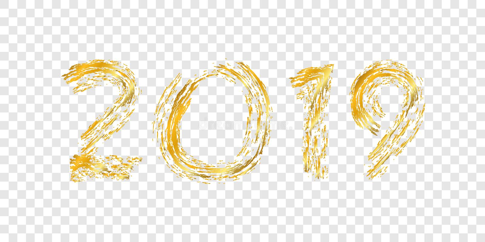 Happy New Year gold number 2019. Bright golden design with sparkle, isolated white transparent background. Holiday stock illustration