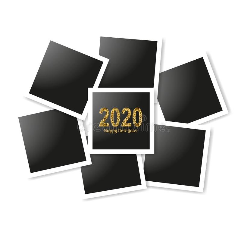 Happy New Year gold number 2020 and frames photo collage on white background. Bright golden design with sparkle. Holiday royalty free illustration