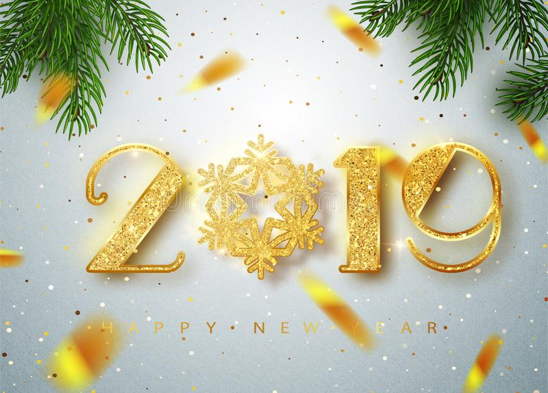 2019 Happy new year. Gold Numbers Design of greeting card of Falling Shiny Confetti. Gold Shining Pattern. Happy New royalty free illustration