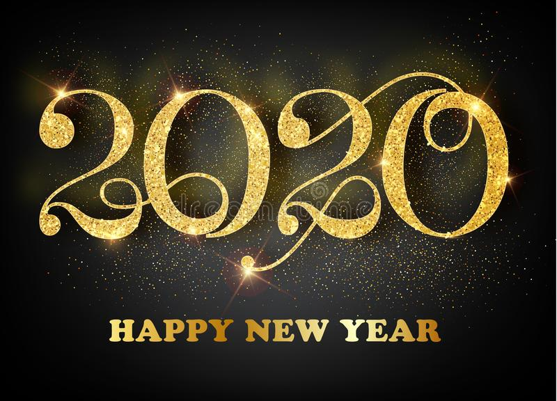 2020 Happy new year. Gold Numbers Design of greeting card. Gold Shining Pattern. Happy New Year Banner with 2020 Numbers royalty free illustration